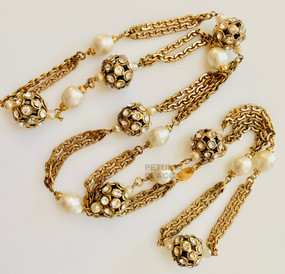 CHANEL VINTAGE CRYSTAL & BAROQUE PEARL NECKLACE
