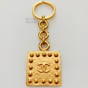 CHANEL VINTAGE STUDDED CC LOGO KEY CHAIN
