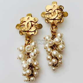CHANEL DANGLING PEARL CLUSTER CC LOGO EARRINGS