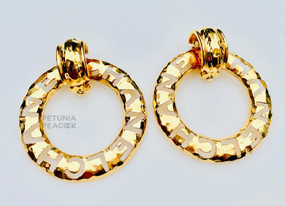 CHANEL CARVED OUT C H A N E L HOOP EARRINGS