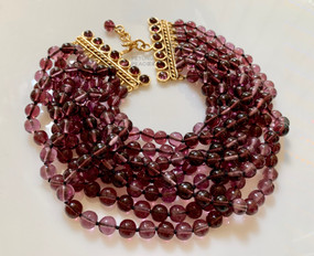 CHANEL 8 STRAND PURPLE GRIPOIX CHOKER NECKLACE