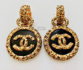 CHANEL BLACK & GOLD ORNATE CC LOGO EARRINGS
