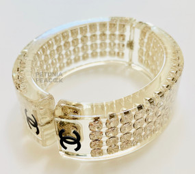 CHANEL BLACK LOGO & CRYSTAL FILLED LUCITE BRACELET
