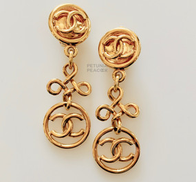 CHANEL DANGLING DOUBLE LOGO EARRINGS