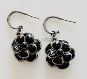 CHANEL BLACK GRIPOIX CAMELLIA FLOWER EARRINGS