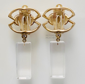 CHANEL DANGLY CC LOGO LUCITE EARRINGS