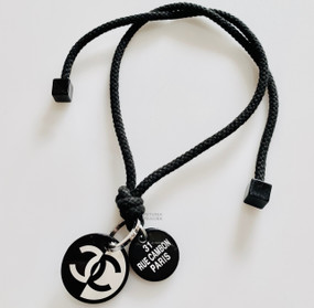 CHANEL BLACK DOUBLE CHARM CHOKER NECKLACE