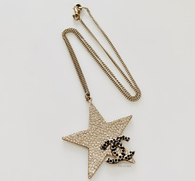 CHANEL BLACK & CLEAR CRYSTAL FILLED STAR & LOGO NECKLACE