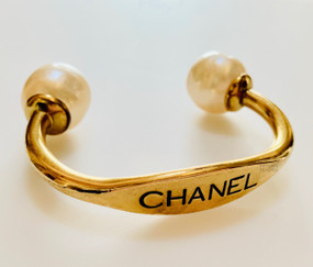CHANEL BAROQUE PEARL ENGRAVED CUFF BRACELET