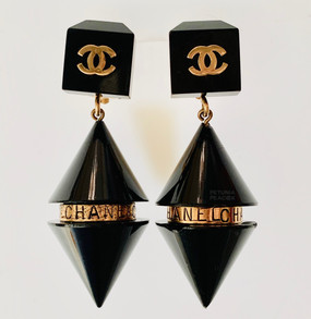 CHANEL BLACK RESIN CYLINDER & GOLD LOGO EARRINGS ~ RARE