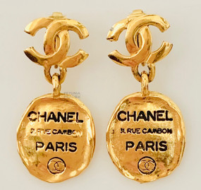 CHANEL 31 RUE CAMBON DOG TAG EARRINGS