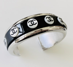 CHANEL BLACK, SILVER & MOTHER OF PEARL CUFF BRACELET
