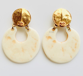 CHANEL BONE & GOLD EARRINGS