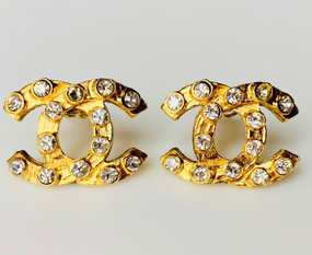 CHANEL VINTAGE CRYSTAL FILLED LOGO EARRINGS