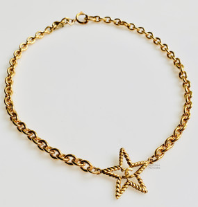 CHANEL TEXTURED STAR & CC LOGO NECKLACE