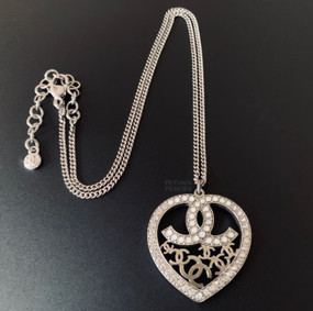 CHANEL CRYSTAL & MULTI LOGO HEART MEDALLION NECKLACE