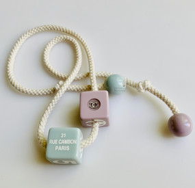 CHANEL BABY BLUE & LILAC PASTEL BLOCK & ROPE NECKLACE