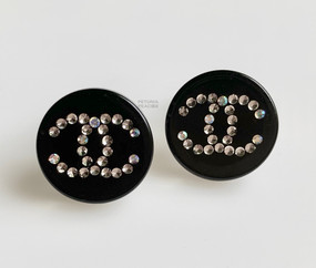 CHANEL BLACK & CRYSTAL CC LOGO EARRINGS