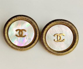 CHANEL MOTHER-OF-PEARL & CC LOGO EARRINGS