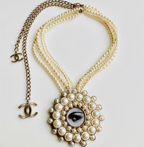 CHANEL RARE COCO'S EYE & MULTI STRAND PEARL NECKLACE