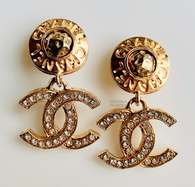 CHANEL BUTTON TOP CRYSTAL CC LOGO EARRINGS
