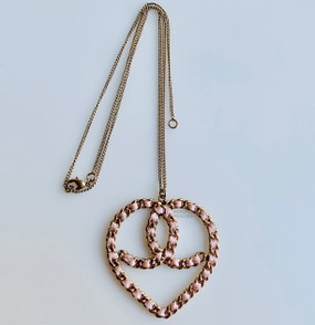 CHANEL BABY PINK & SOFT GOLD LOGO HEART NECKLACE