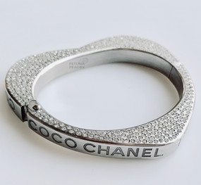 CHANEL CRYSTAL FILLED HEART BANGLE BRACELET