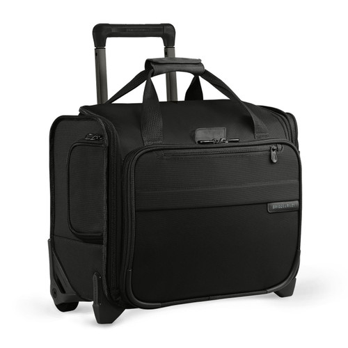 Side-Angle shot of Rolling Cabin Bag by Briggs & Riley in black.
