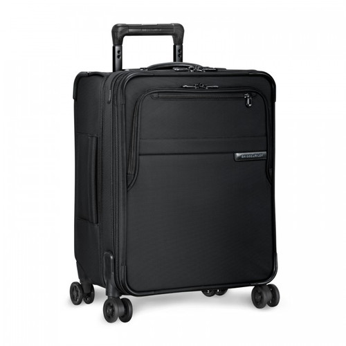 Side shot of International Carry-On Expandable Wide-Body Spinner in black.
