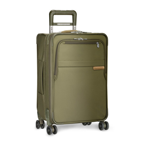 Side shot of Domestic Carry-on Expandable Upright in olive.
