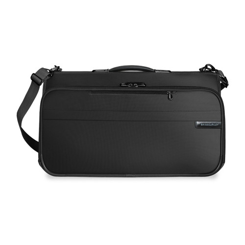 Front shot of Compact Garment Bag in black.