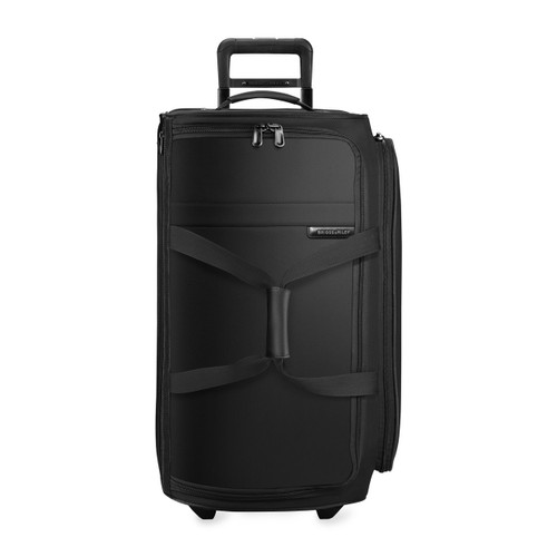 Front shot of Medium Upright Duffle in black.