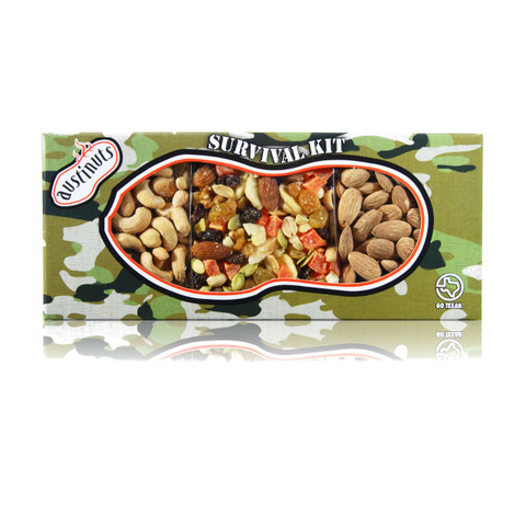 austiNuts Hostess Camo Survival Kit is filled with a scrumptious mix of Gourmet, Dry Roasted Salted Cashews, Trail Mix & Salted Almonds.