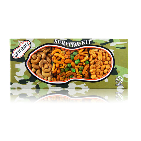 austiNuts Texas Heat Camo Survival Kit  is packed with heat!  Contains: Cayenne Cashews, Hot & Spicy Peanuts & South of the Border Mix