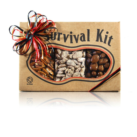 austiNuts Survival Kit - Pecanorama is the perfect gift for a Pecan Lover!  Contains: Jumbo Raw Pecans, Praline Pecans & Milk Chocolate Pecan