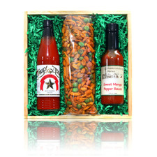 austiNuts Wood crate gift basket for Texas Heat lovers