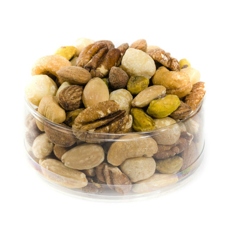 Deluxe Nut Mix | dry roasted Deluxe Nut Mix | blanched almonds, dry roasted almonds, cashews, macadamia nuts, pecans, pistachio kernels