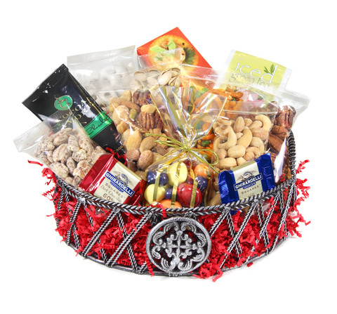 This basket is a perfect gift for a birthday, or for a surprise thank you. The basket includes a variety of gourmet nuts and chocolates along with other products.