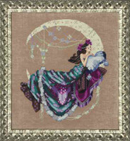 Moon Flowers Kit Cross Stitch Chart Fabric Beads Silk Floss Braid Nora Corbett Mirabilia MD137