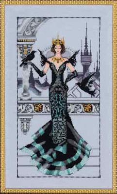 Raven Queen Kit Cross Stitch Chart Fabric Beads Silk Floss Braid Nora Corbett Mirabilia MD139