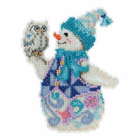 Snowy Owl Snowman Beaded Counted Cross Stitch Kit Mill Hill 2015 Jim Shore JS205103