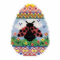 Ladybug Egg Bead Cross Stitch Kit Mill Hill 2016 Spring Bouquet MH181615