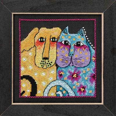 Fur-ever Friends Cross Stitch Kit (Linen) Mill Hill 2016 Laurel Burch Dogs