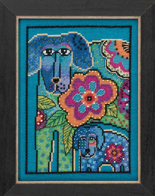 Petunia & Rose Cross Stitch Kit (Linen) Mill Hill 2016 Laurel Burch Dogs