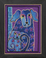 Bloomingtails Cross Stitch Kit (Linen) Mill Hill 2016 Laurel Burch Dogs