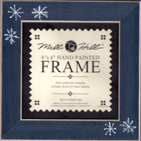 Matte Blue Snowflake Folk Art Mill Hill 6 x 6 Wooden Frame GBFRFA15