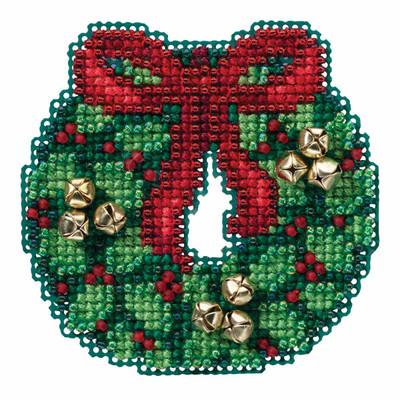 Jingle Bell Wreath Cross Stitch Kit Mill Hill 2016 Winter Holiday MH181632