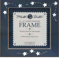 Matte Blue Stars & Stitches Mill Hill 6 x 6 Wooden Frame GBFRFA7