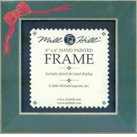 Matte Green with Red Bow Mill Hill 6 x 6 Wooden Frame GBFRFA8