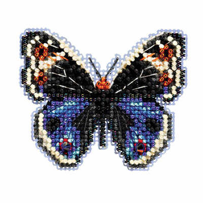 Blue Pansy Butterfly Cross Stitch Kit Mill Hill 2017 Spring Bouquet MH181711